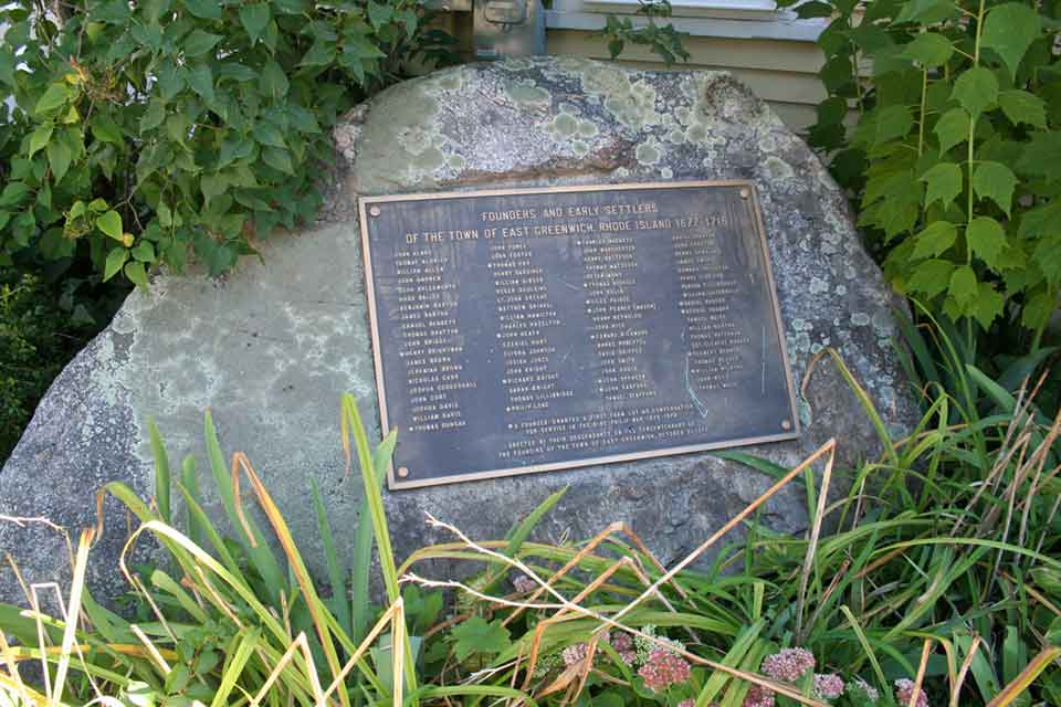 Founders Rock with the names of the early settlers of East Greenwich