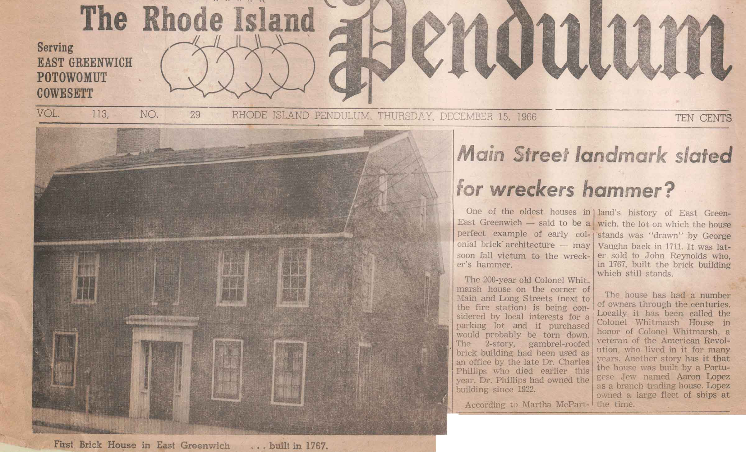 The Rhode Island Pendulum from December 15, 1966 with an article about the Brick House.