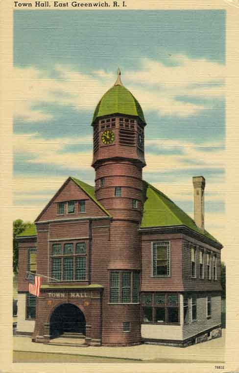 Linen postcard of the old East Greenwich Town Hall