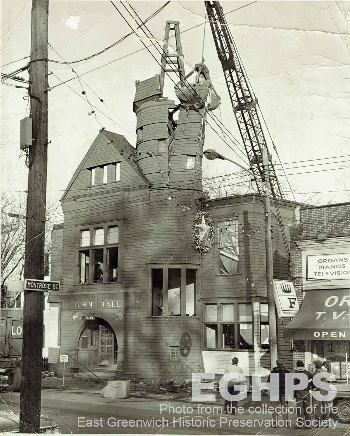 The Old East Greenwich Town Hall being demolished in December 1964.